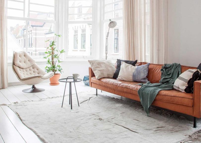 Shop The Look Cognac Coloured Sofa In A White Interior